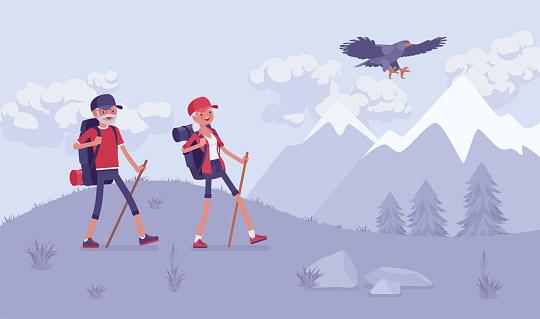 Active seniors, happy healthy elderly people nordic walking, mountains