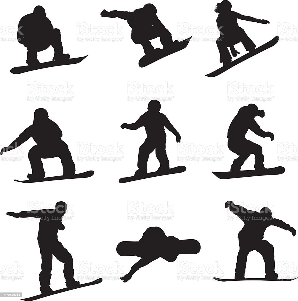 Active Snowboarders vector art illustration