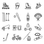 Active lifestyle doodles set. Vector illustration. All objects in groups and easy to edit.