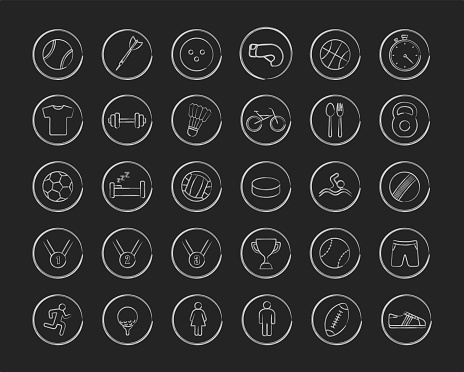 Active sport games linear icons set. Chalk