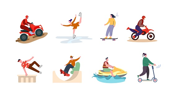Active sport set. The character is engaged in extreme ATV driving figure skating on ice.