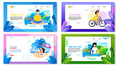 Active Summer Vacation Advertising Landing Page Set. Cartoon Text Banner Template Offering Cycling, Yoga Exercising and Meditation Outdoors, Rest on Tropical Beach. Vector Flat Illustration