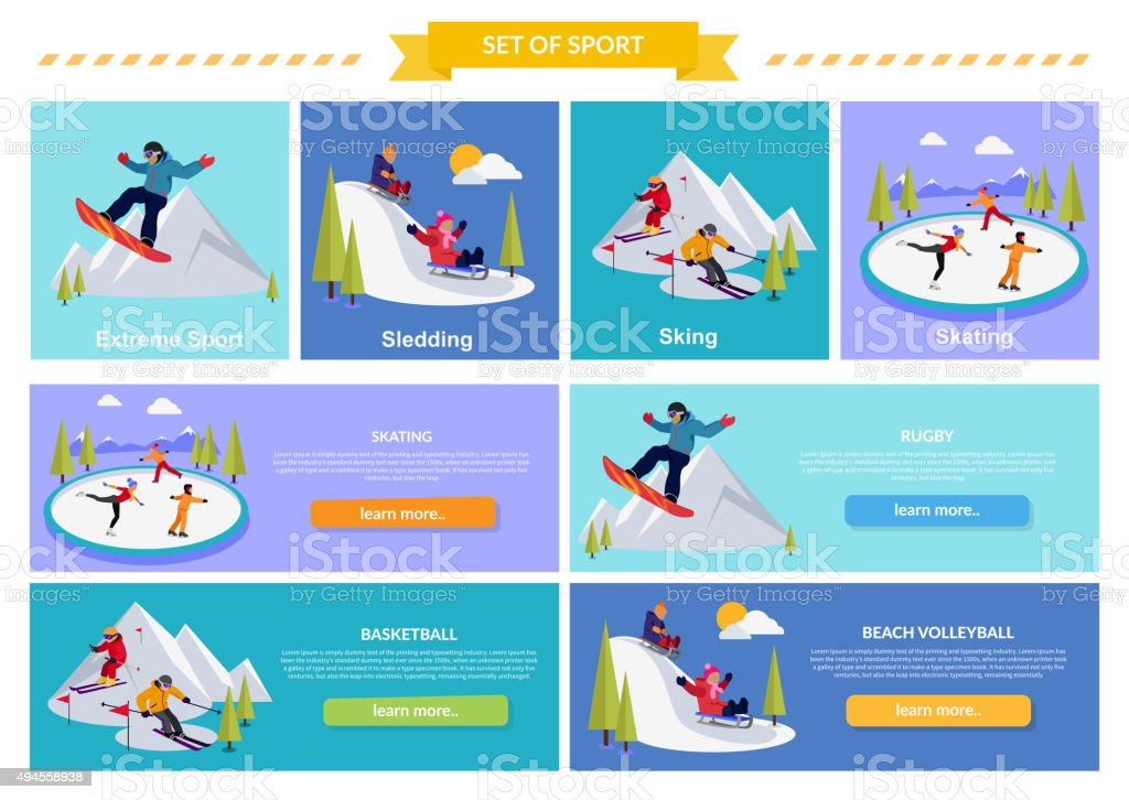 Active Winter Vacation Extreme Sports vector art illustration