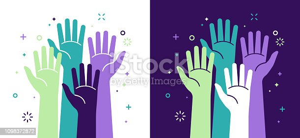 Activism social justice and volunteering hands raised concept.