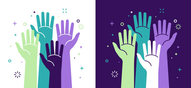 Activism Social Justice and Volunteering Activism social justice and volunteering hands raised concept. greeting stock illustrations