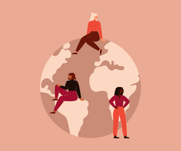 Activist Women of different nationalities and cultures sit on the big globe. Activist Women of different nationalities and cultures sit on the big globe. Vector concept of the female's empowerment movement and Environment conservation. climate change stock illustrations