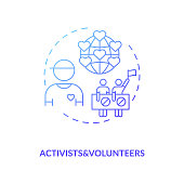 Activists and volunteers concept icon. Influencers type idea thin line illustration. Social activism. Exchanging ideas. Focus on gender, sexuality, race. Vector isolated outline RGB color drawing