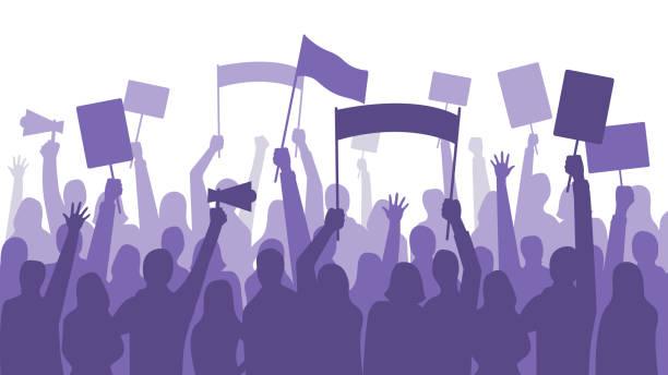 활동가 항의. 정치적인 폭동 로그인 배너, 플 래 카드 시위 및 형상 배너 벡터 일러스트 레이 션 하는 사람들 - 사회 정의 stock illustrations