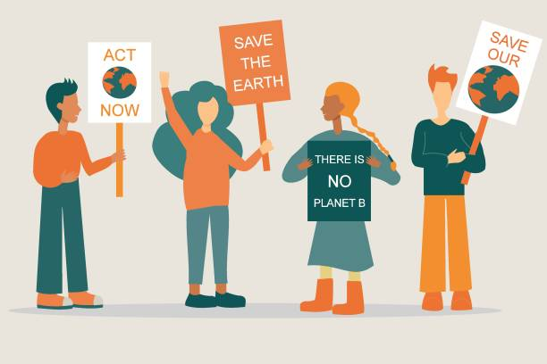 Activists with placards and posters on global strike for climate change vector art illustration