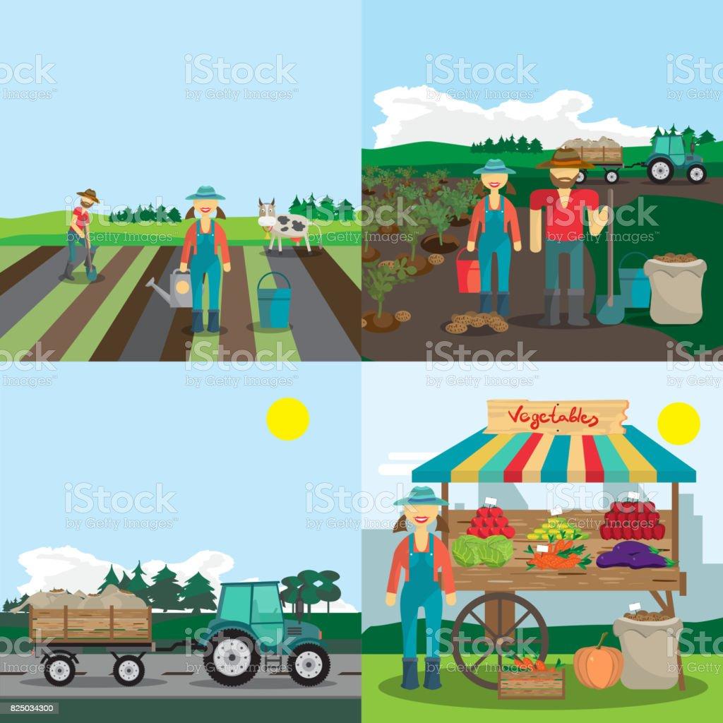 Atividades da fazenda família. O processo de plantio, cultivo de hortaliças e vendê-los - ilustração de arte em vetor
