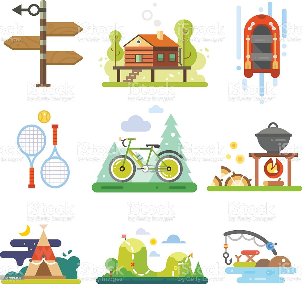 Activities in the forest vector art illustration