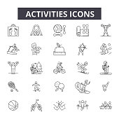 Activities line icons. Editable stroke. Concept illustrations: active people, woman lifestyle, man leisure, happy summer etc. Activities  outline icons
