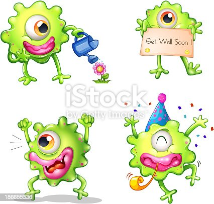 Activities of the green one-eyed monster on a white background