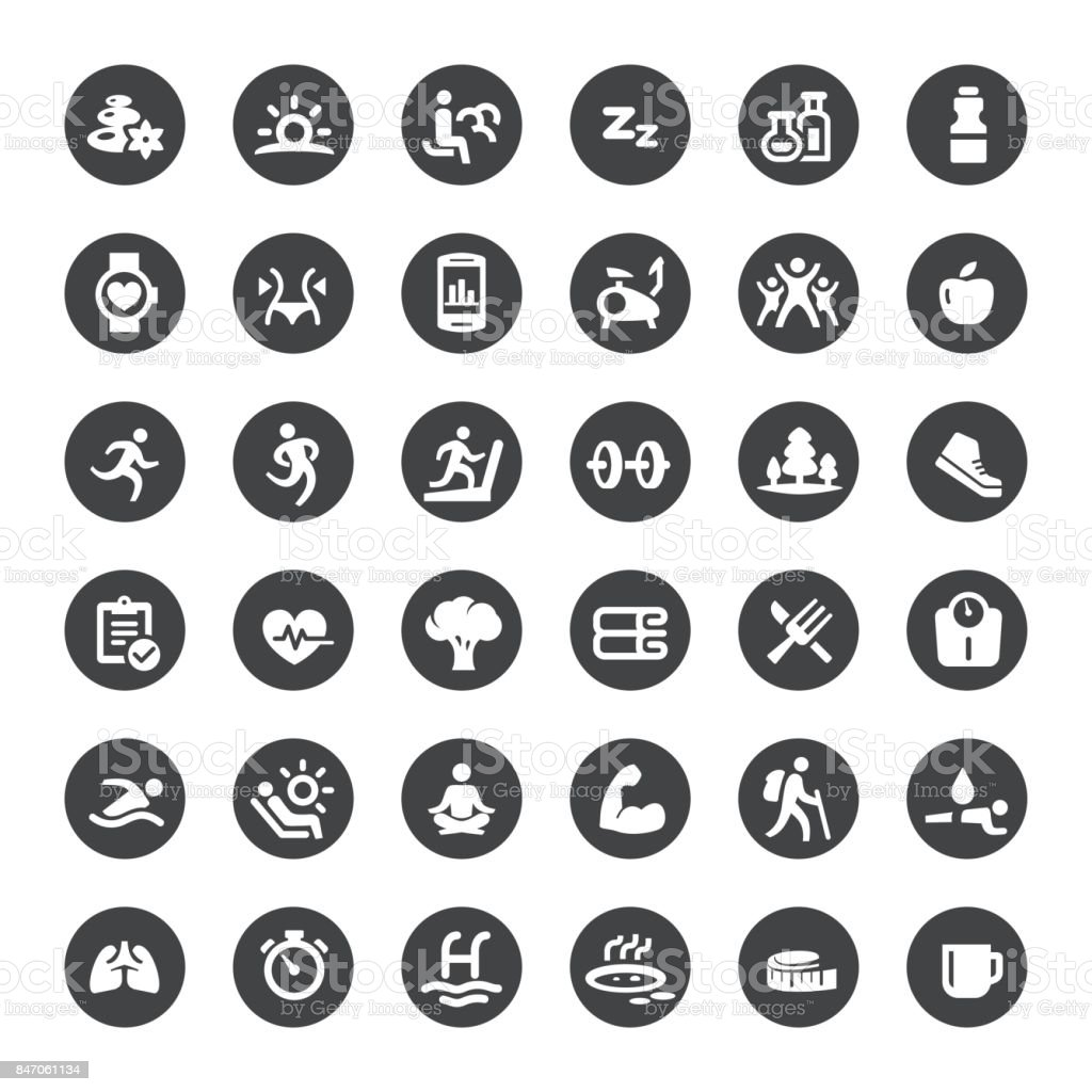 Activity and Healthy Lifestyle Vector Icons vector art illustration