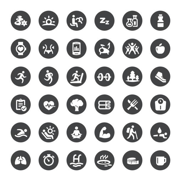 activity and healthy lifestyle vector icons - sports medicine stock illustrations, clip art, cartoons, & icons