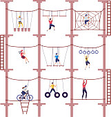 Activity children in extreme adventure rope park with climbing equipment in childhood cartoon climb vector illustration. Child overcoming obstacles took down. Action with team building.