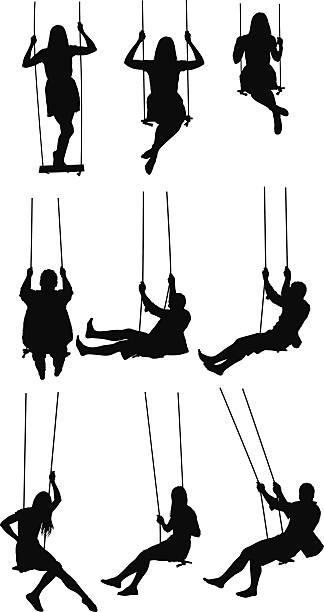 ilustrações de stock, clip art, desenhos animados e ícones de actividade no balanço - balouço