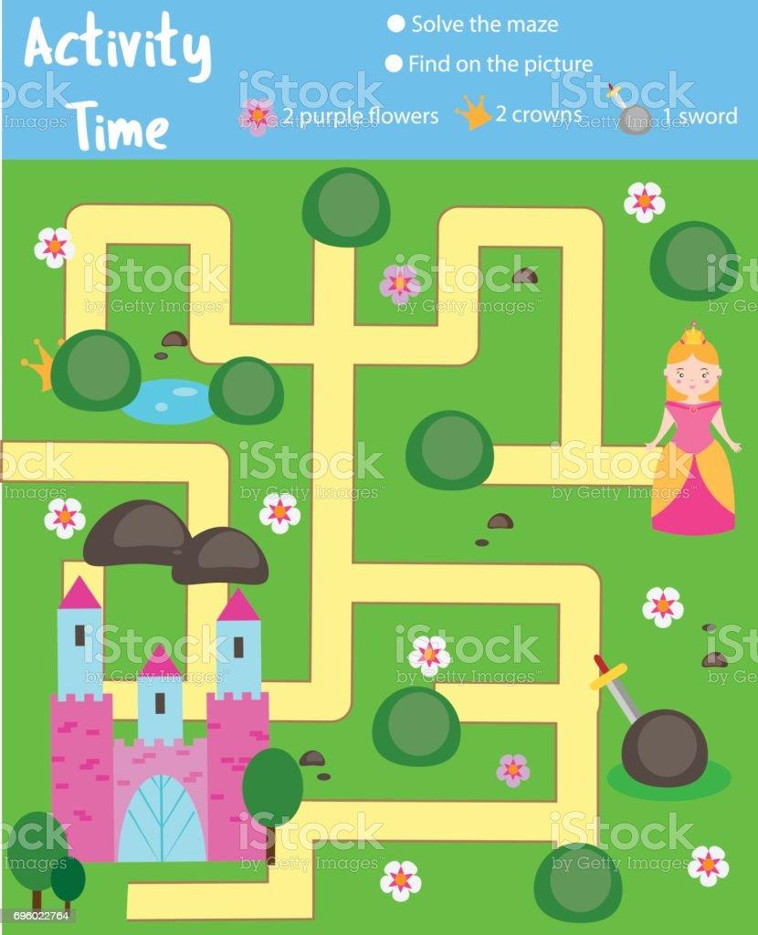 Seite Aktivitäten Für Kinder Lernspiel Labyrinth Und Objektethema Zu ...