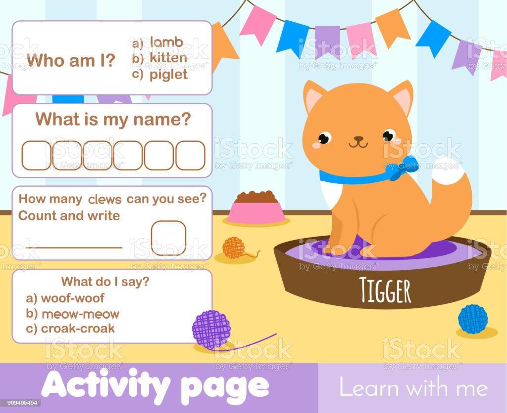 Seite Aktivitäten Für Kinder Mit Niedlichen Kätzchen Haustier ...