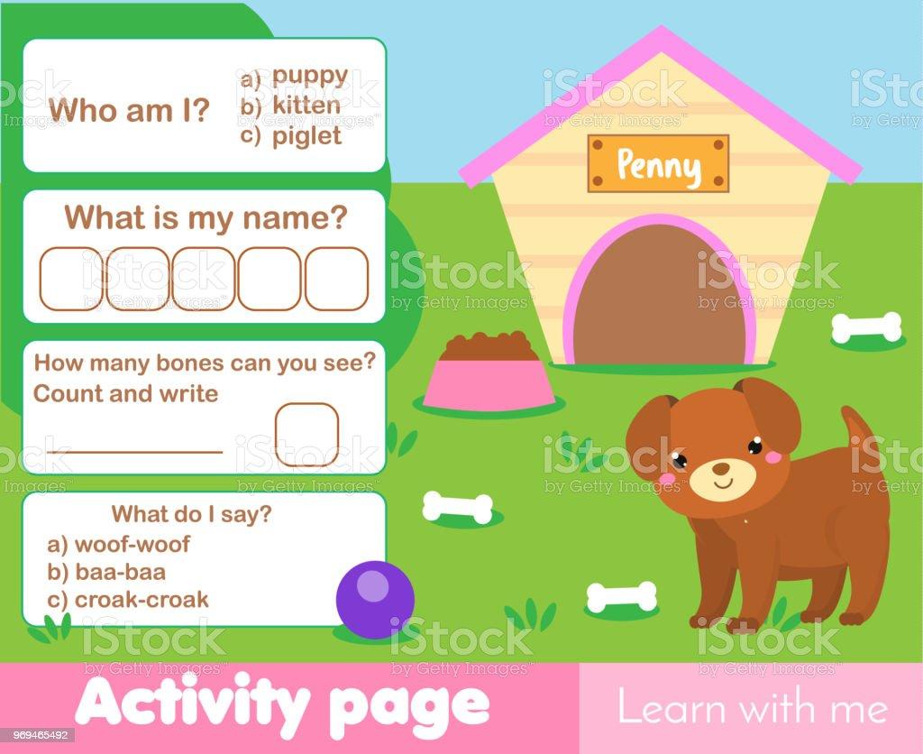 Ilustración de Página De La Actividad Para Niños Con Perrito Lindo ...