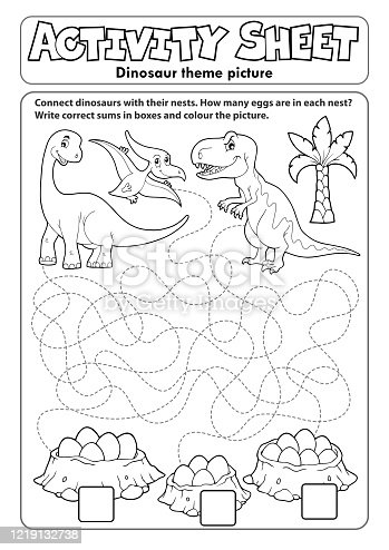 istock Activity sheet dinosaur theme 1 1219132738