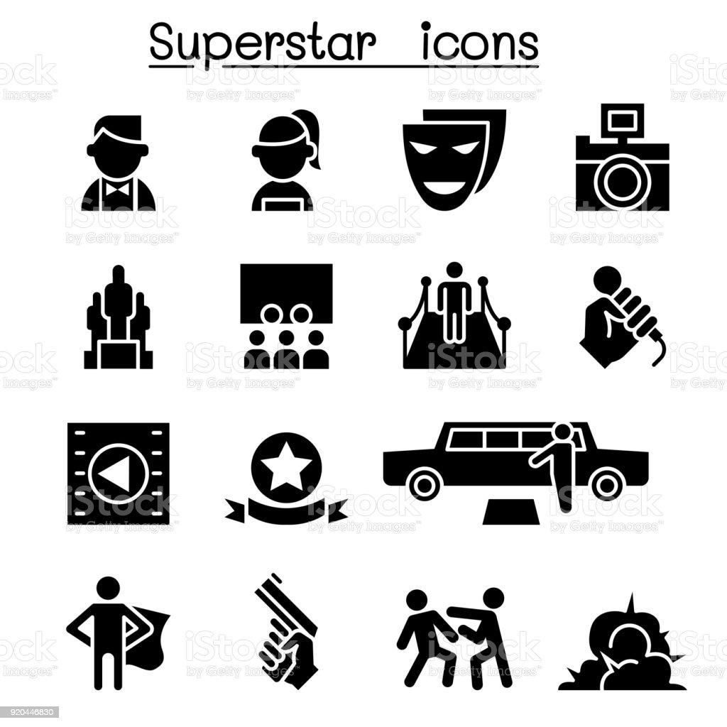 Acteur, actrice, célébrité, Super star jeu d'icônes - Illustration vectorielle