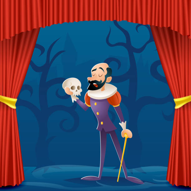 Actor man medieval suit tragic theater curtains stage cartoon character design vector illustration Actor man medieval suit tragic curtains theater stage cartoon character design vector illustration lyric stock illustrations