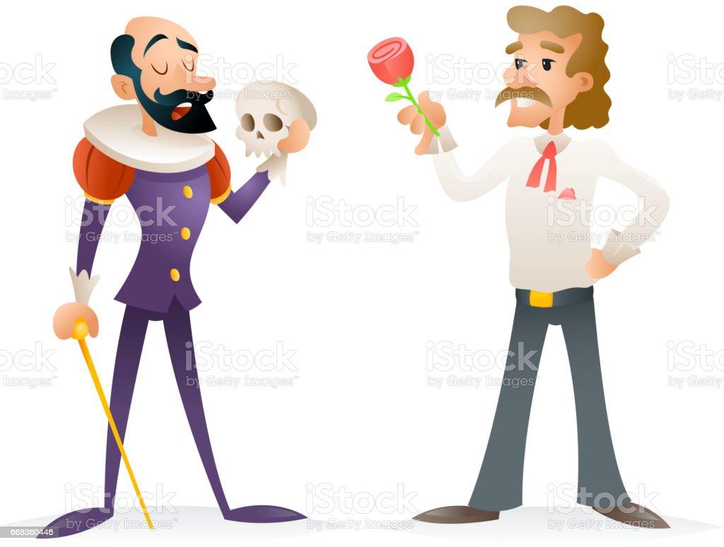 Actor teatro etapa hombre caracteres medievales y modernos iconos dibujos animados diseño plantilla Vector ilustración - ilustración de arte vectorial