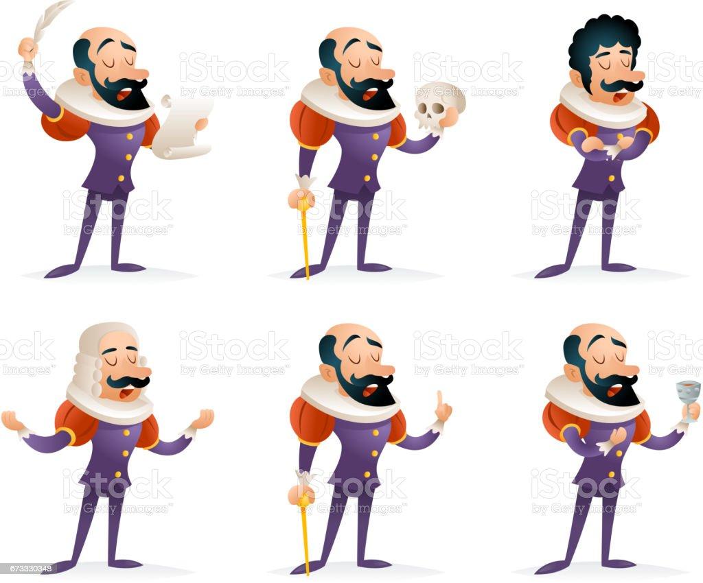 Actor teatro etapa hombre caracteres medievales diferentes acciones iconos dibujos animados Set diseño plantilla Vector ilustración - ilustración de arte vectorial