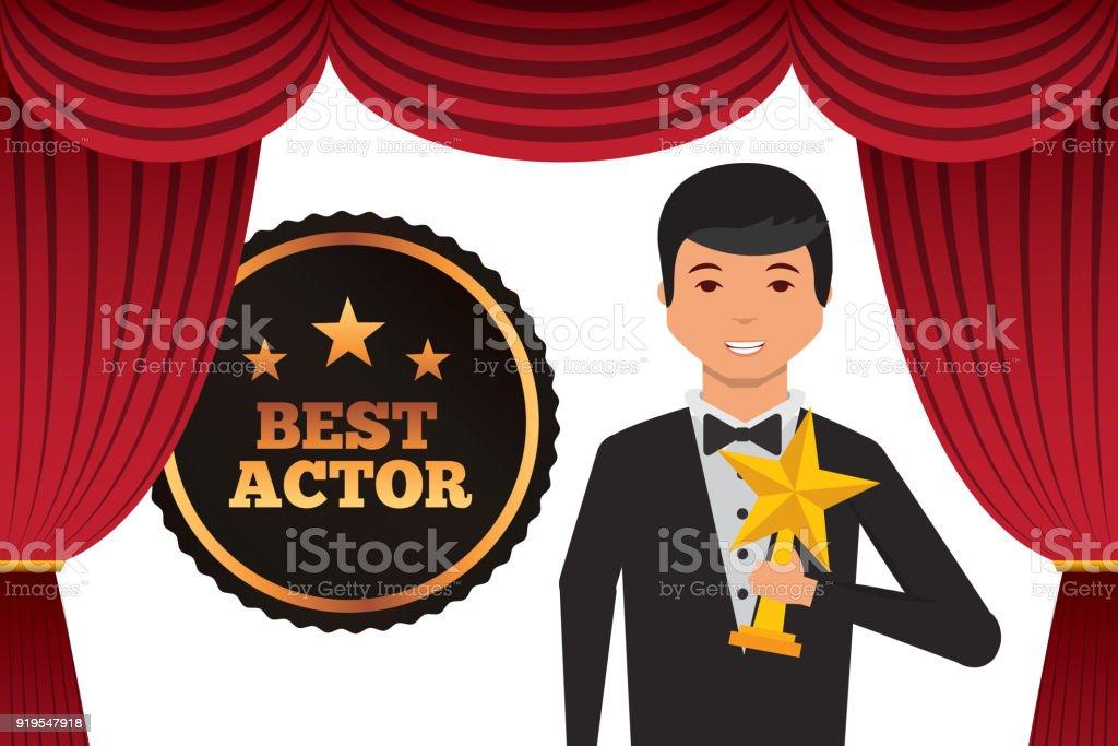 agente usar esmoquin con el premio estrella de oro - ilustración de arte vectorial