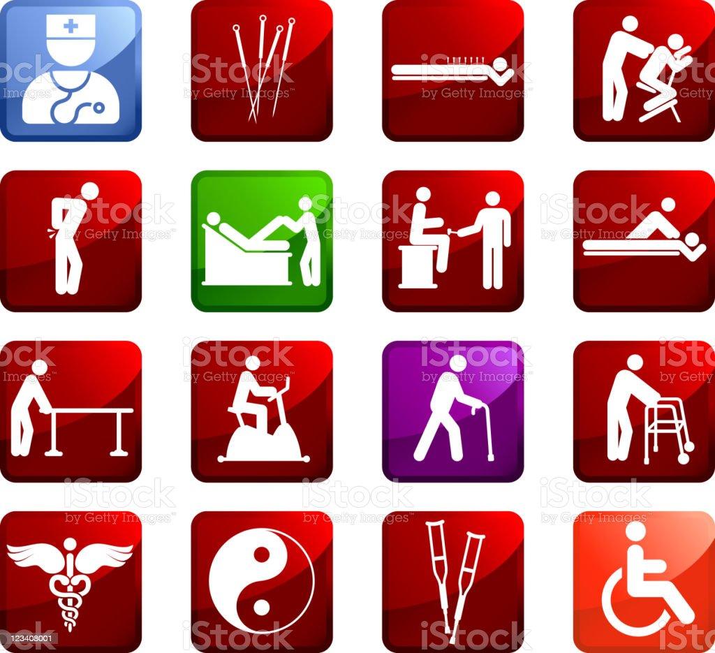Acupuntura y fisioterapia conjunto de iconos vectoriales sin royalties - ilustración de arte vectorial