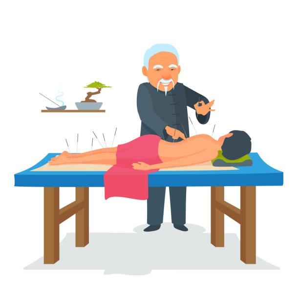 bildbanksillustrationer, clip art samt tecknat material och ikoner med akupunktur kroppsterapi. asiatisk kinesisk traditionell medicin behandling. - acupuncture