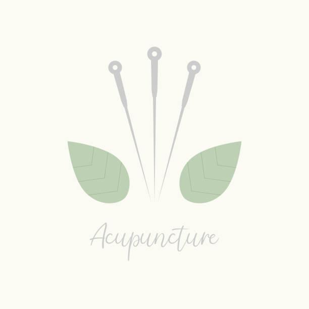 bildbanksillustrationer, clip art samt tecknat material och ikoner med akupunktur nål och gröna blad. alternativ medicin logotyp, tecken, ikon. akupunktur behandling.  traditionell kinesisk medicin. teknik för att balansera flödet av energi eller livskraft. förfarande - acupuncture