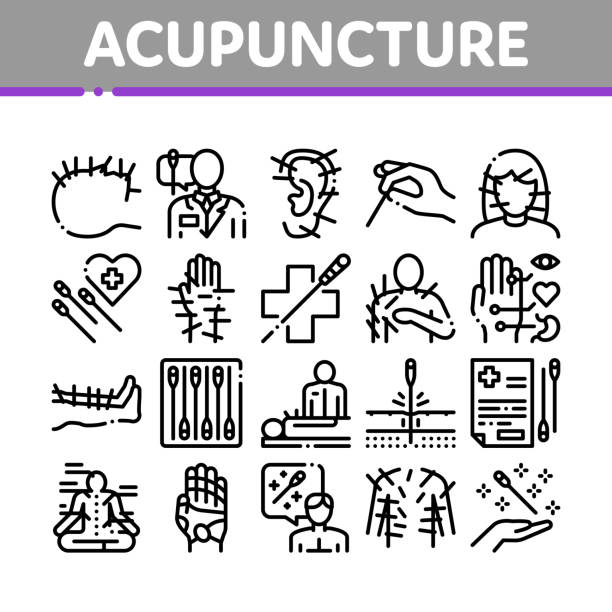 Acupuncture Therapy Collection Icons Set Vector vector art illustration