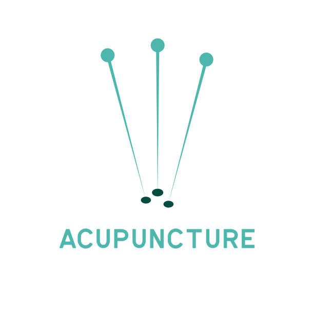 bildbanksillustrationer, clip art samt tecknat material och ikoner med akupunktur behandling ikonen med texten plats för din slogan / tagline, vektorillustration - acupuncture