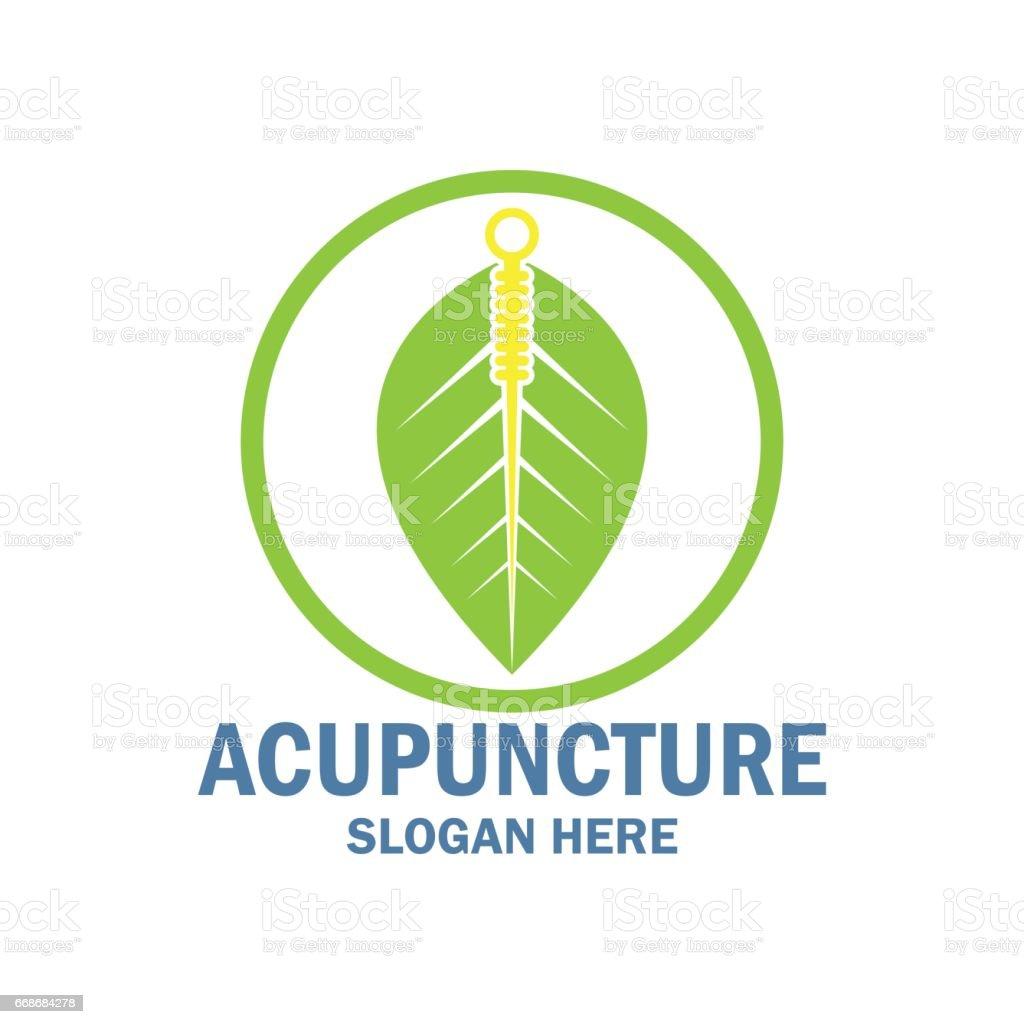 icono de la terapia de acupuntura con espacio de texto para el slogan / lema, ilustración vectorial - ilustración de arte vectorial