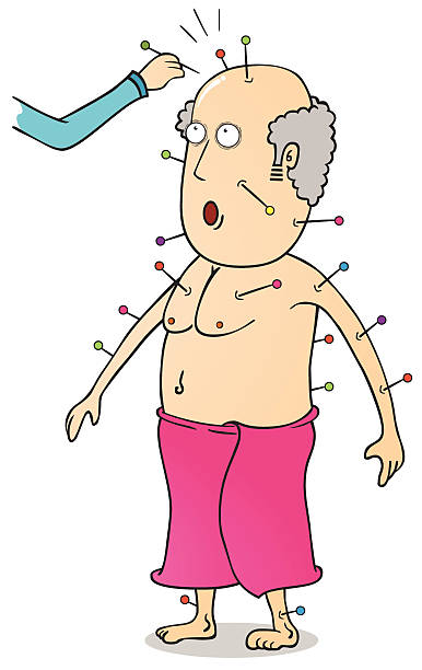 acupuncture - old man nude cartoon stock illustrations, clip art, cartoons, & icons