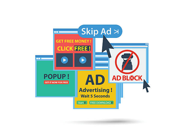 ad block popup banner concept. isolated vector vector art illustration