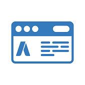 Ad Campaign icon / blue color
