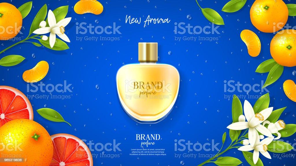 Modèle publicitaire de la marque de parfum de luxe - clipart vectoriel de Agrume libre de droits