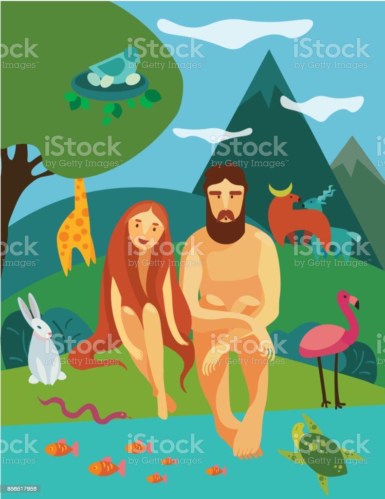 Adam und Eva im Garten Eden – Vektorgrafik