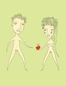 Illustration of Adam and Eve with apple