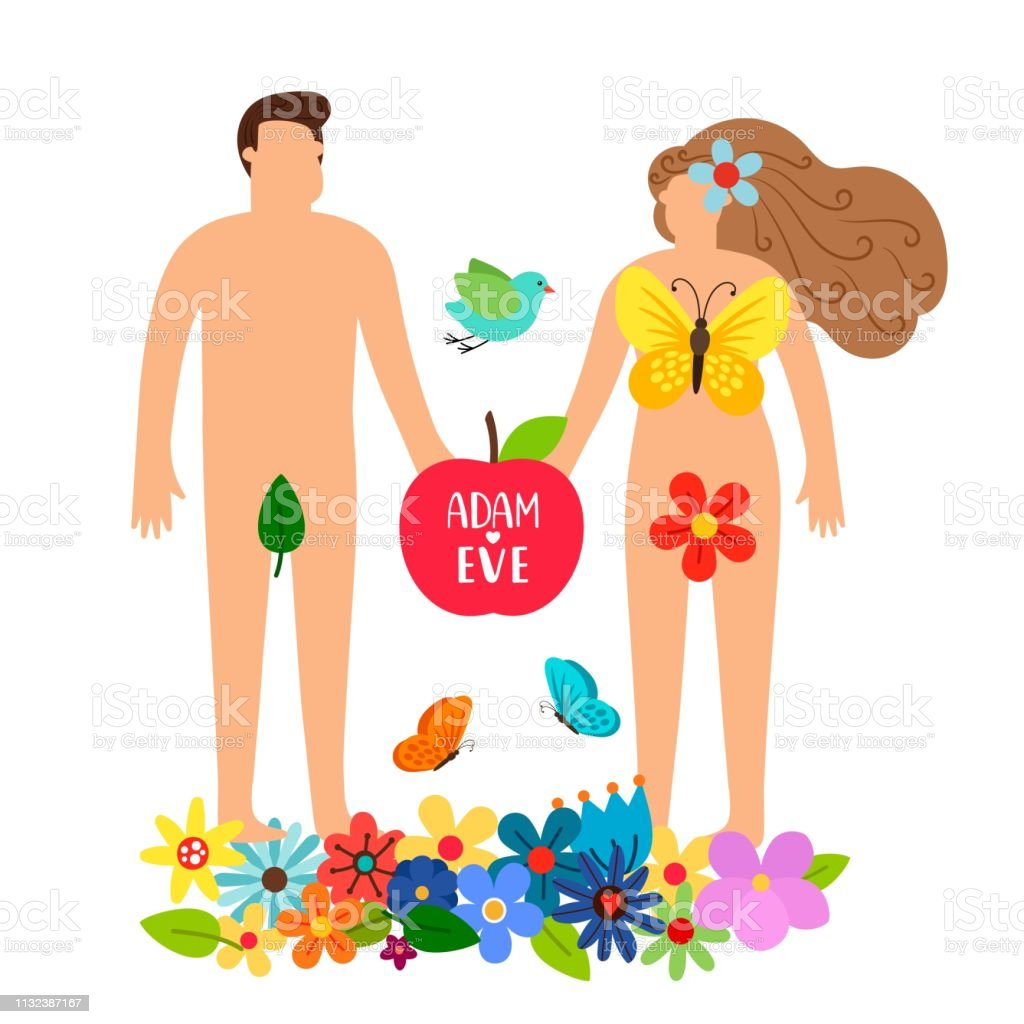 Adam and eve. Bible genesis vector illustration with naked woman,...