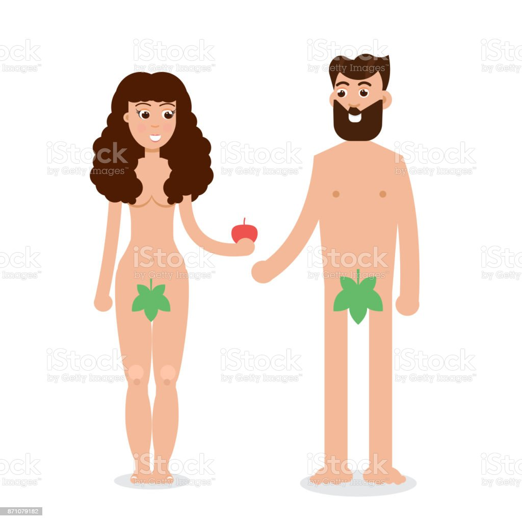 Adam And Eve Cartoon Character In Flat Style Vector Illustration Royalty Free Adam