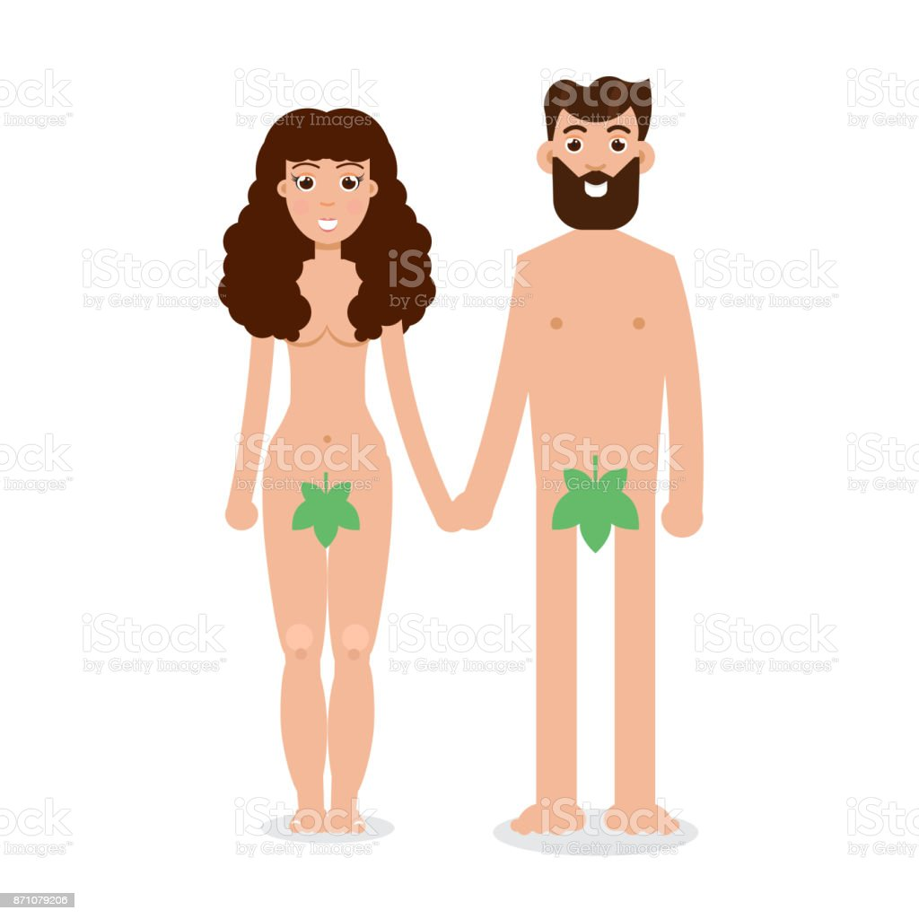 Adam und Eva-Cartoon-Figur im flachen Stil. Vektor-Illustration. – Vektorgrafik