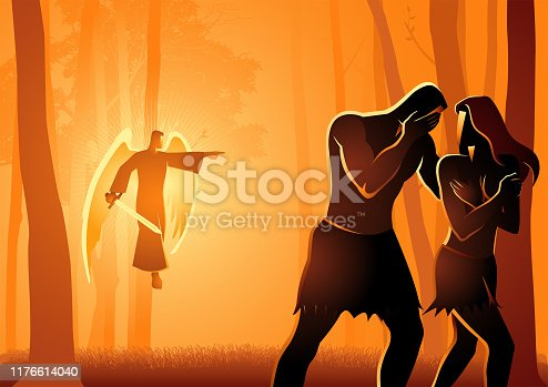 Biblical vector illustration series, Adam and Eve Expelled From The Garden