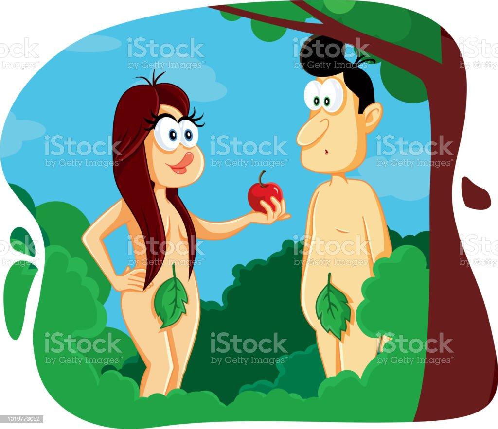 アダムとイヴのエデンの園漫画イラスト 2人のベクターアート素材や