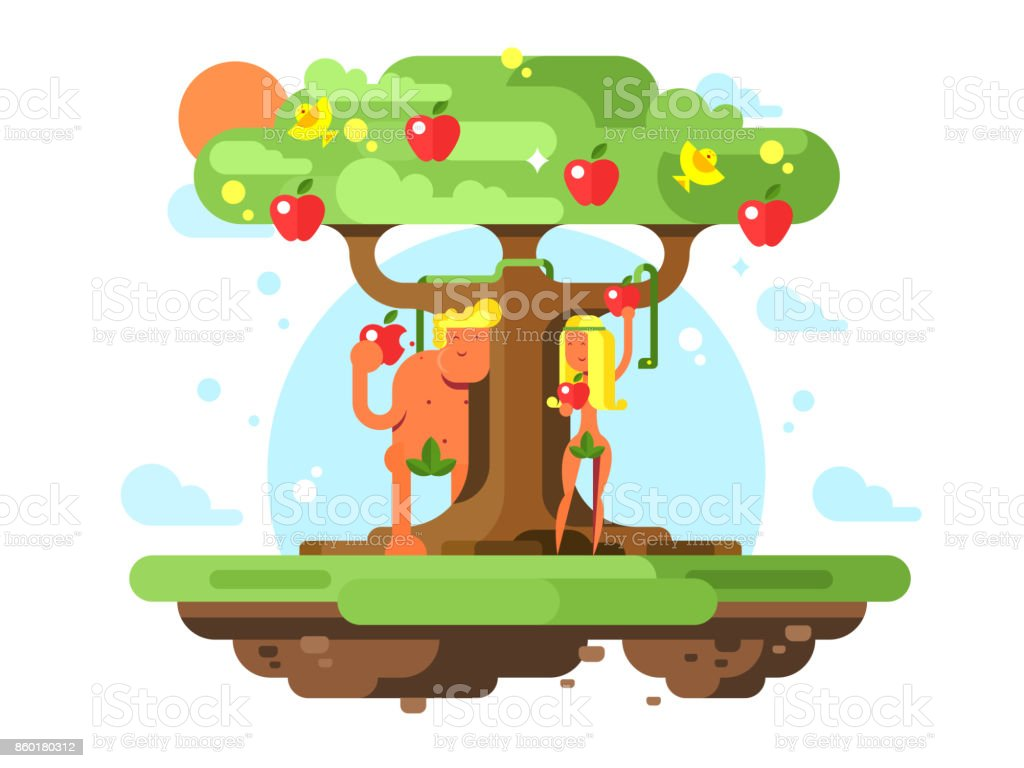 Adam and Eve near apple tree vector art illustration