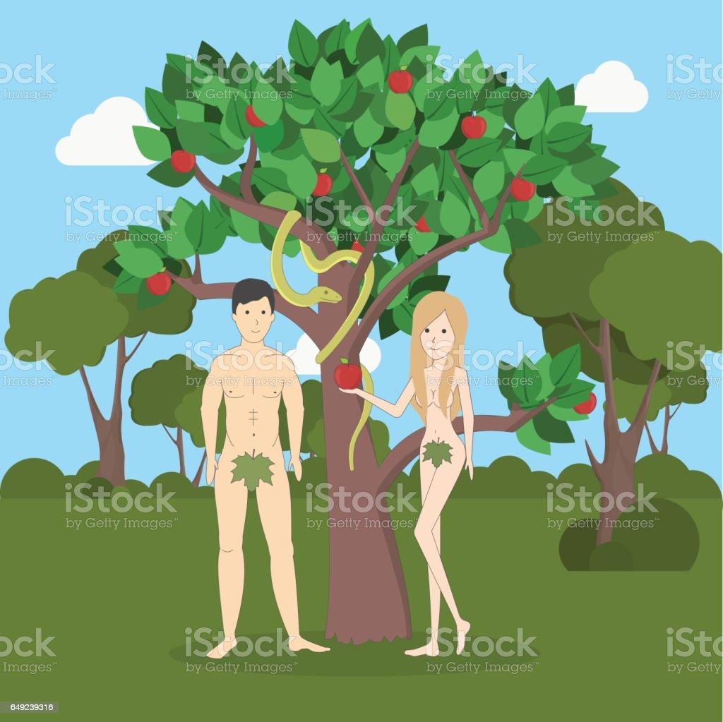 Adam und Eva in der Nähe des Apfelbaums mit Schlange. – Vektorgrafik