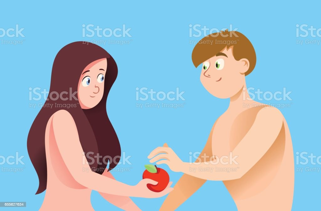 Adam and Eve on blue background vector art illustration